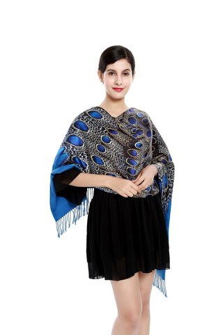 Yangtze Store Luxury Extra Heavy Silk Shawl/Wrap Turquoise Theme Peacock Pattern GS203