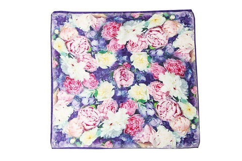 "Yangtze Store Mid-Sized Square Charmeuse Silk Scarf 28""x28"" Digitally Printed Blue Theme Flower Print ZFD001"