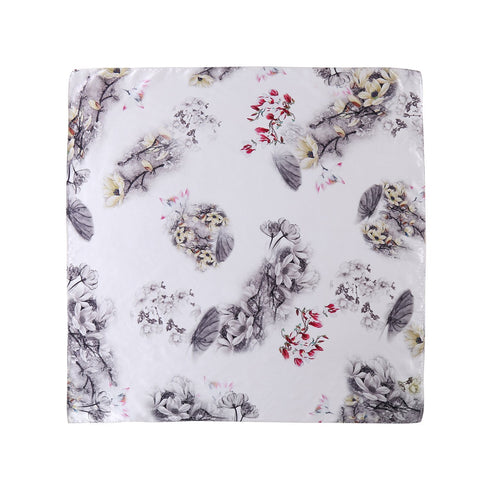 Yangtze Store Mid-Sized Square Charmeuse Silk Scarf Ivory Color Floral Print ZFD203