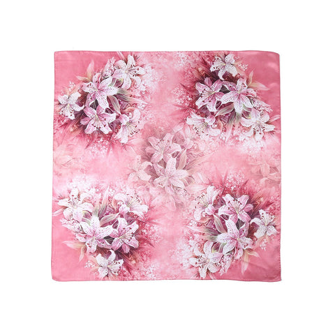 Yangtze Store Mid-Sized Square Charmeuse Silk Scarf Pink Color Lily Print ZFD201