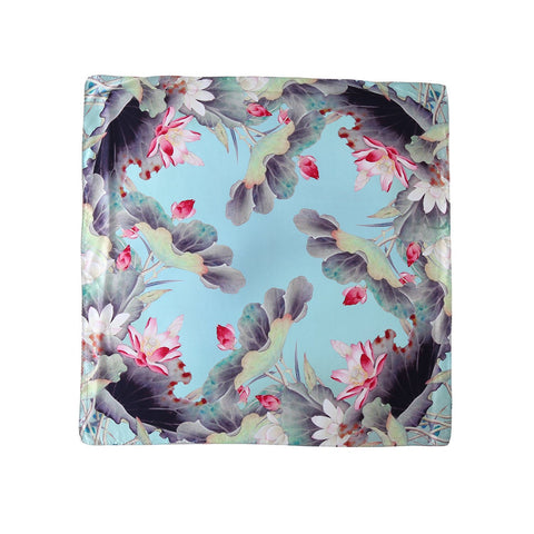 Yangtze Store Mid-Sized Square Charmeuse Silk Scarf Turquoise  Theme Floral  Print ZFD208