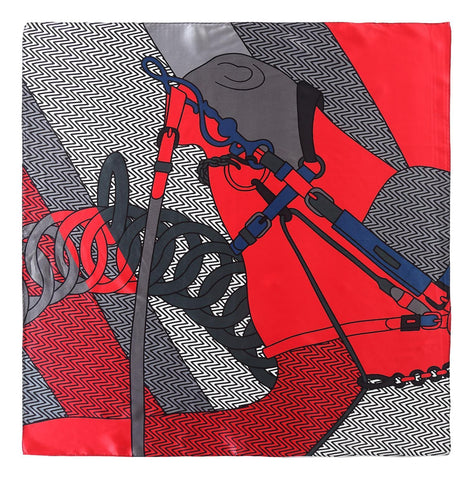 Yangtze Store Mid-Sized Square Silk Scarf Black and Red Links Print ZFD224