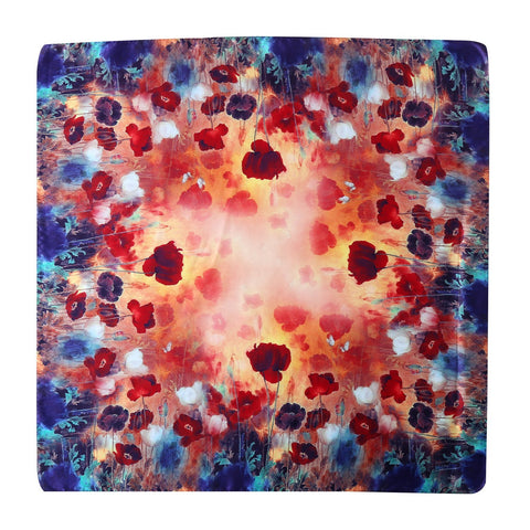 Yangtze Store Mid-Sized Square Silk Scarf Blue and Red Flower Print ZFD211