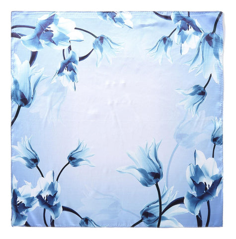 Yangtze Store Mid-Sized Square Silk Scarf Blue Theme Floral Print ZFD223