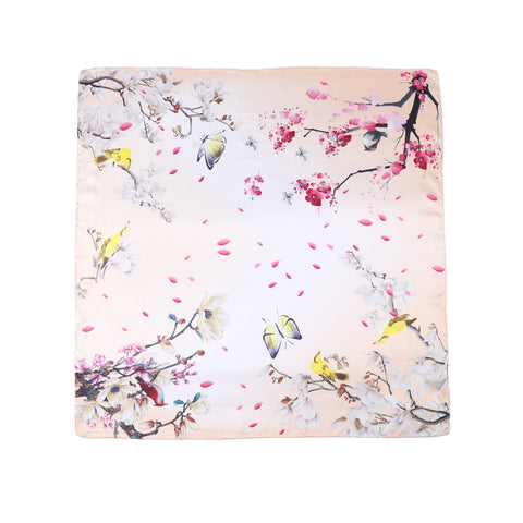 Yangtze Store Mid-Sized Square Silk Scarf Champagne Theme Floral Print ZFD215