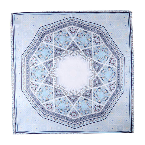 Yangtze Store Mid-Sized Square Silk Scarf Light Blue Check Print ZFD209