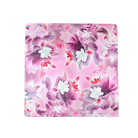 Yangtze Store Mid-Sized Square Silk Scarf Purple Color Flower Print ZFD217