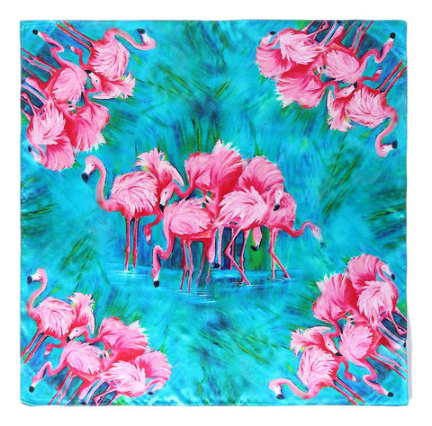 Yangtze Store Mid-Sized Square Silk Scarf Turquoise Theme Flamingo Print ZFD225