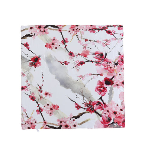 Yangtze Store Mid-Sized Square Silk Scarf White Background Red Plum Blossom Print ZFD206
