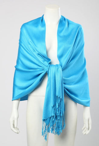 Yangtze Store Pashmina Wrap Shawl Scarf Plain Blue Color PSH001