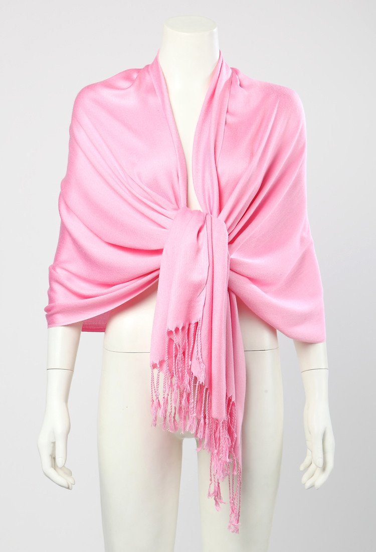 c2a68366255 Pashmina Wrap Shawl Scarf Plain Pink Color PSH005