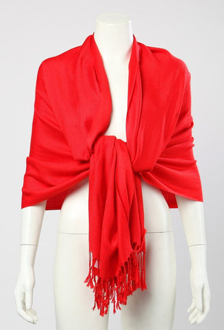 Yangtze Store Pashmina Wrap Shawl Scarf Plain Red Color PSH003