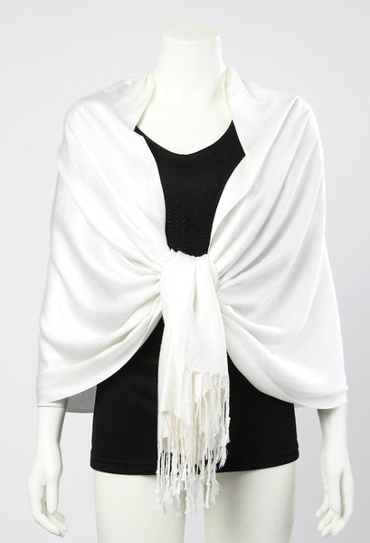 Pashmina Wrap Shawl Scarf Plain White Color PSH009