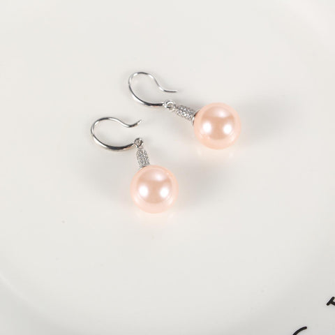 Yangtze Store Pink/Silver Pearl Earrings PEA104