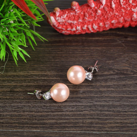 Yangtze Store Pink/Silver Stud Pearl Earrings PSE004