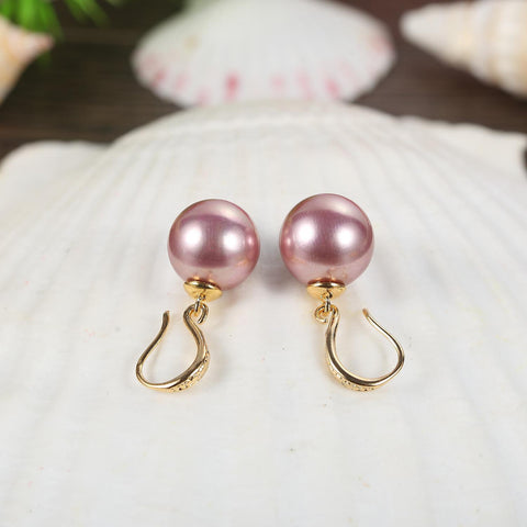 Yangtze Store Purple/Gold Pearl Earrings PEA001
