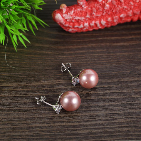 Yangtze Store Purple/Silver Stud Pearl Earrings PSE002