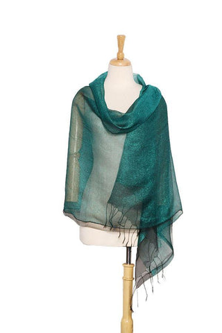 Yangtze Store Silk and Viscose Organza Shawl Wrap Scarf Dark Green with Silver Threads COT607