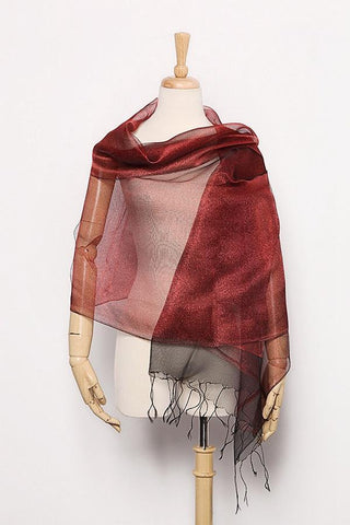 Yangtze Store Silk and Viscose Organza Shawl Wrap Scarf Dark Red with Silver Threads COT603