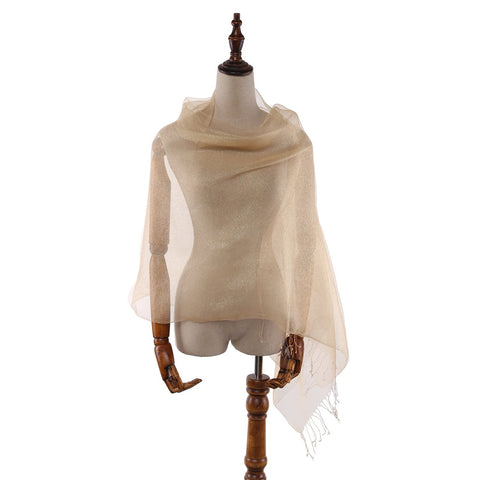 Yangtze Store Silk and Viscose Organza Shawl Wrap Scarf Gold Color COT611