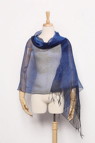 Yangtze Store Silk and Viscose Organza Shawl Wrap Scarf Navy Blue with Silver Threads COT601