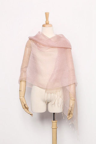 Yangtze Store Silk and Viscose Organza Shawl Wrap Scarf Pink with Silver Threads COT606