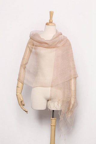 Yangtze Store Silk and Viscose Organza Shawl Wrap Scarf Taupe with Silver Threads COT604