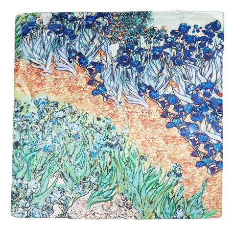 Yangtze Store Silk Neckerchief Small Square Silk Scarf Blue Iris by Van Gogh XFJ402