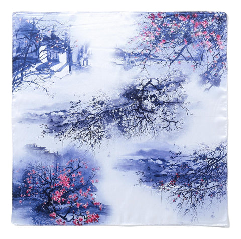 Yangtze Store Silk Neckerchief Small Square Silk Scarf Blue Theme Floral Print XFD202