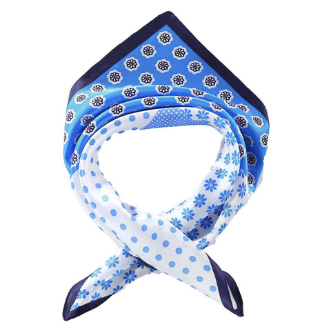 Yangtze Store Silk Neckerchief Small Square Silk Scarf Blue Theme Polka Dot Print XFJ236