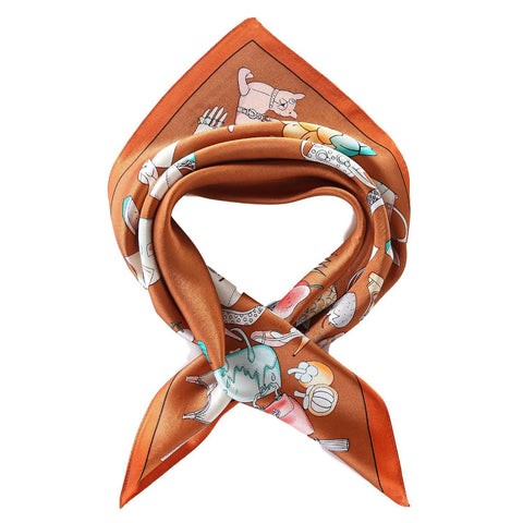 Yangtze Store Silk Neckerchief Small Square Silk Scarf Bronze Color Handbags Print XFJ237