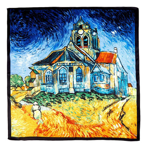 Yangtze Store Silk Neckerchief Small Square Silk Scarf Cafe Terrace AT Night by Van Gogh XFJ407