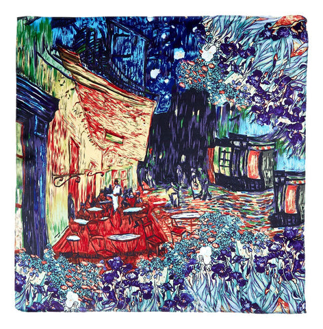 Yangtze Store Silk Neckerchief Small Square Silk Scarf Cafe Terrace At Night By Van Gogh XFJ412