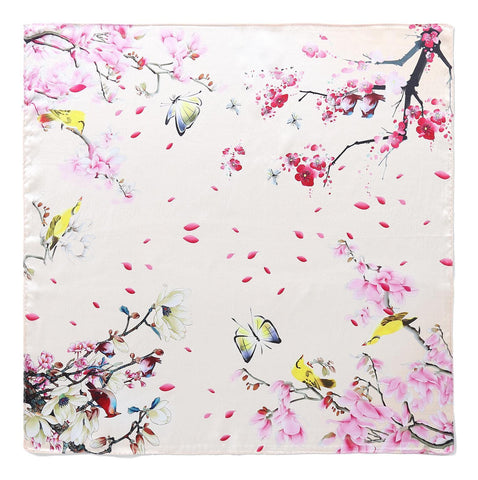 Yangtze Store Silk Neckerchief Small Square Silk Scarf Champagne Color Flower and Butterfly Print XFD205