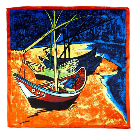 Yangtze Store Silk Neckerchief Small Square Silk Scarf Classic Painting The Boat XFJ410