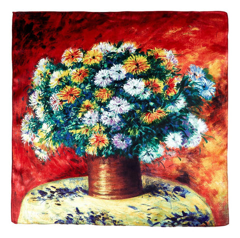 Yangtze Store Silk Neckerchief Small Square Silk Scarf Flowers In Vase by Klimt XFJ405