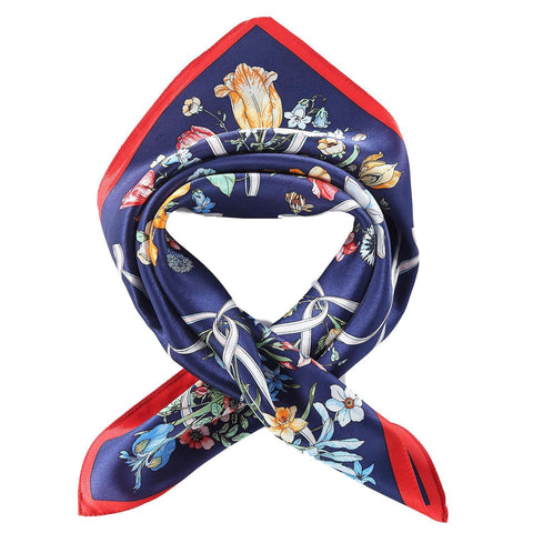 Yangtze Store Silk Neckerchief Small Square Silk Scarf Navy Color Floral Print XFJ240