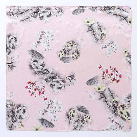 Yangtze Store Silk Neckerchief Small Square Silk Scarf Pink Color Flower Print XFD204