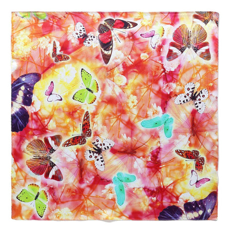 Yangtze Store Silk Neckerchief Small Square Silk Scarf Red Theme Butterfly Print XFD206