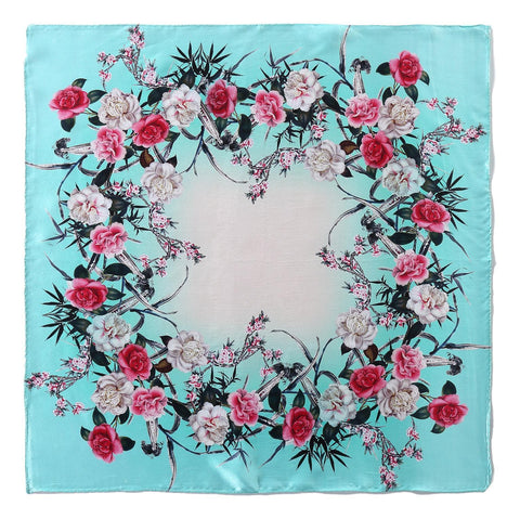 Yangtze Store Silk Neckerchief Small Square Silk Scarf Turquoise Color Flower Print XFD203