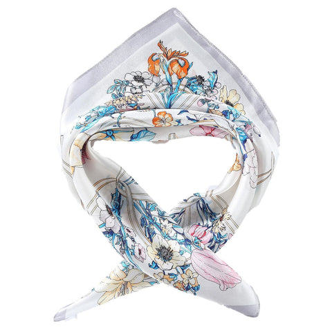 Yangtze Store Silk Neckerchief Small Square Silk Scarf White Theme Floral Print XFJ241