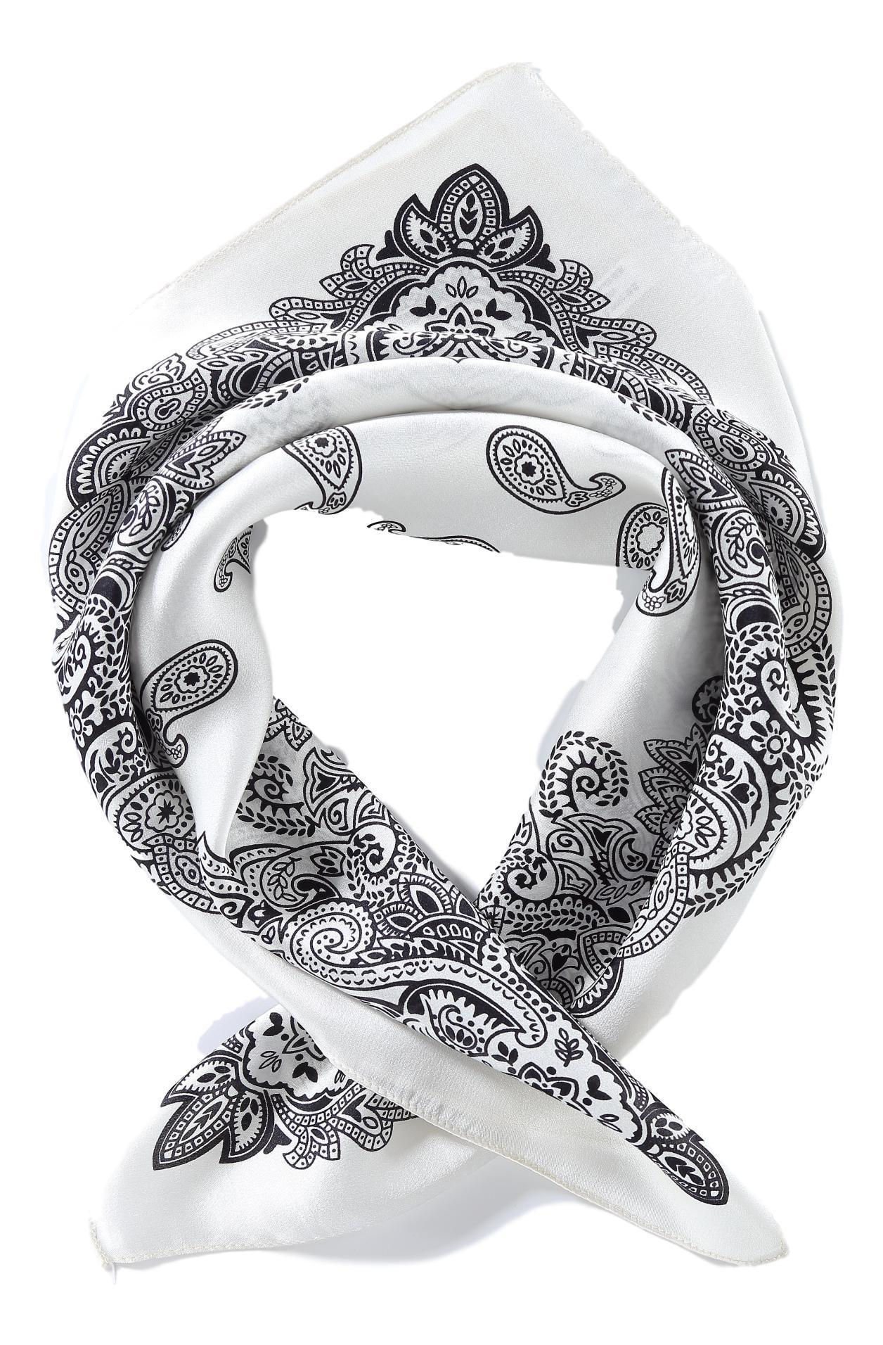 706bec2baf Silk Neckerchief Small Square Silk Scarf White Theme Paisley Print XFJ232