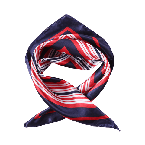 Yangtze Store Small Square Satin Scarf Neckerchief Red and Navy Striped Print XAT023