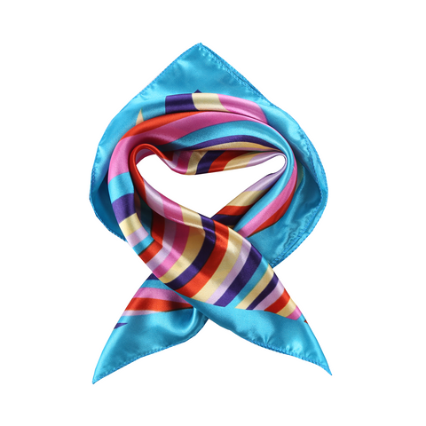Yangtze Store Small Square Satin Scarf Neckerchief Turquoise Color Curves Print XAT026