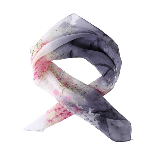 Yangtze Store Small Square Silk Chiffon Scarf Gray and Pink Floral Print ZFS002
