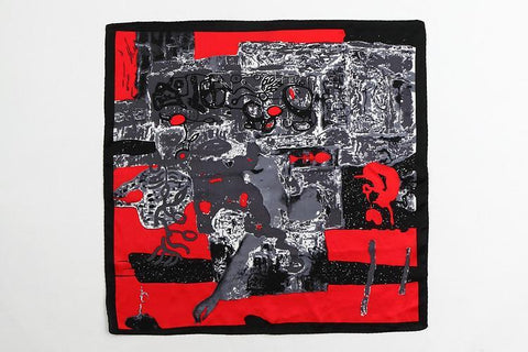 Yangtze Store Small Square Silk Satin Scarf Black and Red XFJ201