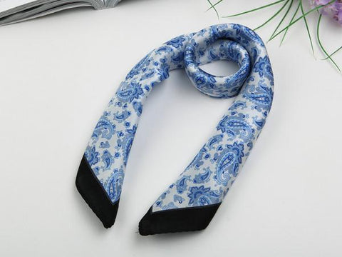 Yangtze Store Small Square Silk Satin Scarf Blue and White Theme Paisley Pattern XFJ024