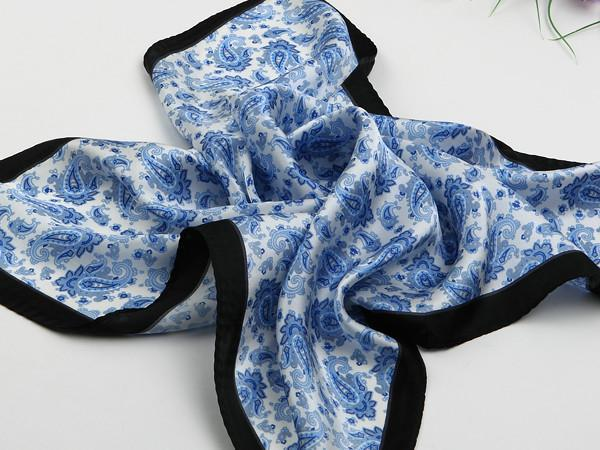 Small Square Silk Satin Scarf Blue And White Theme Paisley