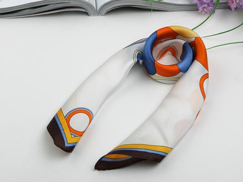 Yangtze Store Small Square Silk Satin Scarf Ivory Theme Blue and Orange Circles Pattern XFJ011
