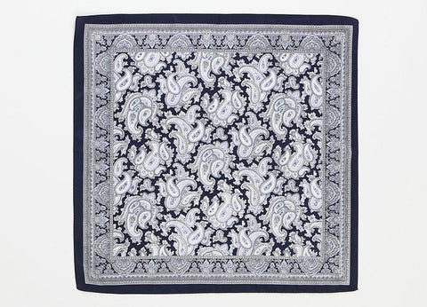 Yangtze Store Small Square Silk Satin Scarf Navy Theme Paisley Pattern XFJ206